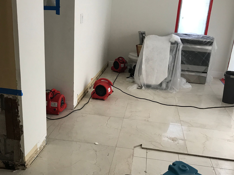 Our technicians dry out a house in Coral Gables from water damage.