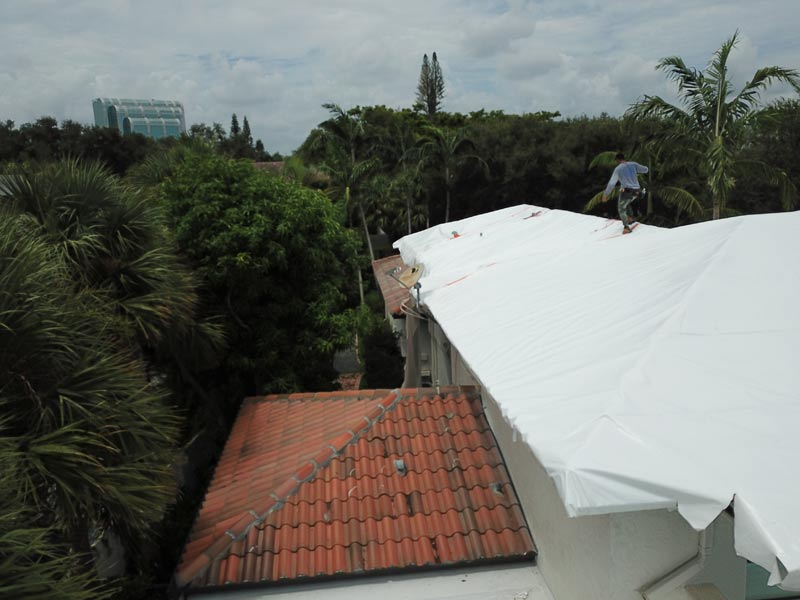 When you detect water damage one way to protect your house is to shrink wrap the roof immediately.